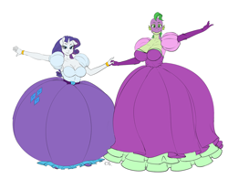 Size: 1200x941 | Tagged: safe, artist:pia-sama, rarity, spike, dragon, unicorn, anthro, barb, barity, big breasts, breasts, busty barb, busty rarity, cleavage, clothes, dragoness, dress, female, half r63 shipping, holding hands, lesbian, mare, rule 63, shipping, simple background, sparity, white background