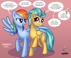 Size: 1270x1035 | Tagged: safe, artist:hornbuckle, discord, rainbow dash, oc, draconequus, pegasus, pony, broken, cellphone, dialogue, duo, duo female, female, hug, human to pony, male, male to female, mare, offscreen character, open mouth, open smile, phone, raised hoof, reality shift, red background, rule 63, simple background, smiling, speech bubble, thought bubble, transformation, transformation sequence, transformed, transgender transformation, winghug, wings