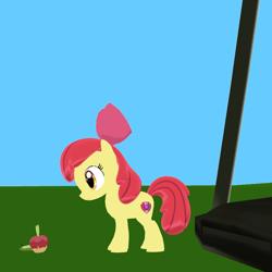 Size: 800x800   Tagged: safe, artist:superskyfandomslum, apple bloom, earth pony, applin, crossover, female, filly, pokémon