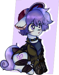 Size: 1309x1657 | Tagged: safe, artist:ube, artist:ubebreb, oc, oc only, oc:lilac snip, earth pony, ashes town, bandage, choker, clothes, collar, earth pony oc, hat, ribbon, simple background, spiked collar, tomboy