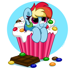 Size: 4600x4376 | Tagged: safe, artist:kittyrosie, rainbow dash, pegasus, pony, abstract background, chocolate, cupcake, cute, dashabetes, female, food, heart eyes, hnnng, kittyrosie is trying to murder us, m&m's, mare, micro, simple background, smiling, solo, sprinkles, weapons-grade cute, whipped cream, wingding eyes