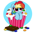 Size: 4600x4376 | Tagged: safe, artist:kittyrosie, rainbow dash, pegasus, pony, abstract background, chocolate, cupcake, cute, dashabetes, female, food, kittyrosie is trying to murder us, m&m's, mare, micro, simple background, smiling, solo, sprinkles, whipped cream
