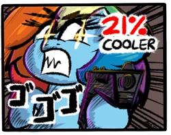Size: 898x710   Tagged: safe, artist:ashtoneer, rainbow dash, pegasus, pony, 20% cooler, female, glowing eyes, gun, handgun, hoof hold, mare, pistol, solo