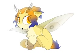 Size: 1024x722   Tagged: safe, artist:mochi_nation, oc, oc only, oc:moth, moth, mothpony, original species, pony, chest fluff, eye clipping through hair, female, mare, simple background, sitting, solo, white background