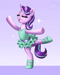 Size: 3277x4096   Tagged: safe, artist:confetticakez, starlight glimmer, pony, unicorn, ballet, bipedal, clothes, eyes closed, glimmerina, open mouth, open smile, smiling, solo, standing, standing on one leg, tutu