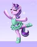 Size: 3277x4096 | Tagged: safe, artist:confetticakez, starlight glimmer, pony, unicorn, ballet, bipedal, clothes, eyes closed, glimmerina, open mouth, open smile, smiling, solo, standing, standing on one leg, tutu