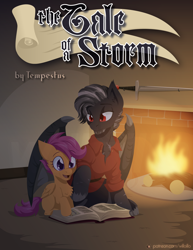 Size: 1224x1584   Tagged: safe, artist:willoillo, scootaloo, oc, dracony, dragon, hybrid, pony, commission, cover, fanfic art