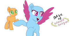 Size: 1044x532 | Tagged: safe, artist:sakurastageani, oc, oc only, earth pony, pegasus, pony, bald, base used, earth pony oc, eyelashes, looking back, open mouth, pegasus oc, raised hoof, simple background, smiling, transparent background, wings