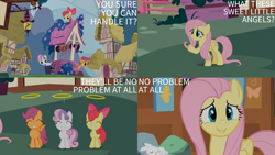 Size: 1280x720 | Tagged: safe, edit, edited screencap, editor:quoterific, screencap, apple bloom, fluttershy, scootaloo, sweetie belle, earth pony, pegasus, pony, unicorn, season 1, stare master, ^^, adorabloom, apple bloom's bow, bow, cute, cutealoo, cutie mark crusaders, diasweetes, eyes closed, female, filly, hair bow, mare, smiling