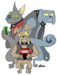 Size: 2356x3100 | Tagged: safe, artist:skyfarer, fido, rover, spot, diamond dog, a dog and pony show