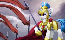 Size: 2400x1466   Tagged: safe, artist:twinkling, oc, oc only, pony, unicorn, armor, cloak, clothes, female, flag, guardsmare, mare, royal guard, solo, spear, weapon