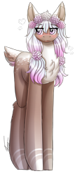 Size: 732x1714   Tagged: safe, artist:inspiredpixels, oc, oc only, pony, blushing, floral head wreath, flower, pale belly, solo, standing