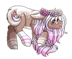 Size: 248x205   Tagged: safe, artist:inspiredpixels, oc, oc only, pony, blushing, coat markings, female, floppy ears, floral head wreath, flower, looking at you, mare, profile, simple background, solo, transparent background