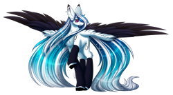 Size: 3298x1818   Tagged: safe, artist:inspiredpixels, oc, oc only, oc:marie pixel, pegasus, pony, chest fluff, female, mare, raised hoof, solo, spread wings, two toned wings, wings