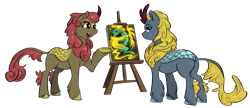 Size: 3767x1629   Tagged: safe, artist:testostepone, part of a set, maple brown, tianhuo (tfh), winter flame, dragon, hybrid, kirin, longma, g4 mega collab, them's fightin' herds, simple background, transparent background