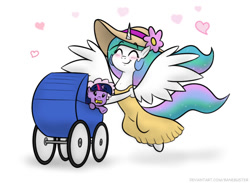 Size: 1056x774 | Tagged: safe, artist:banebuster, princess celestia, twilight sparkle, alicorn, pony, unicorn, series:tiny tia, baby, baby carriage, baby pony, babylight sparkle, babysitting, blushing, clothes, cute, cutelestia, daaaaaaaaaaaw, dress, eyes closed, female, filly, filly twilight sparkle, floating heart, foalsitting, hat, heart, momlestia, open mouth, simple background, twiabetes, unicorn twilight, white background, younger
