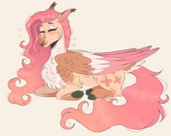 Size: 1167x929   Tagged: safe, artist:wanderingpegasus, fluttershy, pegasus, pony, alternate hairstyle, chest fluff, cute, eyes closed, female, freckles, mare, markings, redesign, shyabetes, solo, unshorn fetlocks