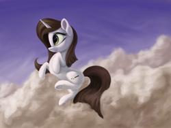 Size: 3000x2250 | Tagged: safe, artist:flusanix, oc, oc only, oc:brittneigh ackermane, pony, unicorn, cloud, female, mare, sky, solo