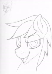 Size: 1647x2320   Tagged: safe, artist:sefastpone, silver script, pegasus, pony, bust, grayscale, looking at you, male, monochrome, open mouth, portrait, raised eyebrow, sketch, solo, stallion