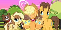 Size: 1024x501 | Tagged: safe, artist:velveagicsentryyt, applejack, caramel, winona, oc, oc:apple flower, oc:apple pie, oc:appleseed, pony, baby, baby pony, carajack, female, filly, male, offspring, parent:applejack, parent:caramel, parents:carajack, shipping, straight