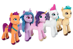 Size: 1920x1280 | Tagged: safe, hitch trailblazer, izzy moonbow, pipp petals, sunny starscout, zipp storm, earth pony, pegasus, pony, unicorn, g5, female, male, mane five (g5), mare, merchandise, play by play, plushie, simple background, stallion, toy, white background