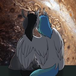 Size: 1000x1000 | Tagged: safe, artist:foxenawolf, oc, oc:coldfire, oc:xanth, changeling, pegasus, pony, fanfic:cosmic lotus, black mane, blue mane, blue tale, duo, fanfic art, female, hug, jupiter, male, oc x oc, shipping, winghug, wings