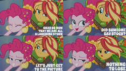 Size: 1280x720 | Tagged: safe, edit, edited screencap, editor:quoterific, screencap, pinkie pie, sunset shimmer, equestria girls, equestria girls series, holidays unwrapped, o come all ye squashful, spoiler:eqg series (season 2), eyes closed, female, grin, lying down, open mouth, smiling