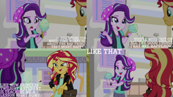 Size: 1280x720 | Tagged: safe, edit, edited screencap, editor:quoterific, screencap, starlight glimmer, sunset shimmer, equestria girls, mirror magic, spoiler:eqg specials, clothes, female, food, geode of empathy, ice cream, jacket, jewelry, leather, leather jacket, magical geodes, necklace, open mouth, that human sure does love ice cream