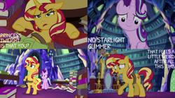 Size: 1280x720 | Tagged: safe, edit, edited screencap, editor:quoterific, screencap, starlight glimmer, sunset shimmer, pony, unicorn, equestria girls, mirror magic, spoiler:eqg specials, bipedal, book, female, floppy ears, mare, open mouth, smiling, twilight's castle