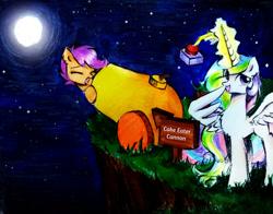 Size: 1008x792 | Tagged: safe, artist:liaaqila, princess celestia, scootaloo, alicorn, pegasus, pony, cake, cannon, food, implied cake, implied cakelestia, implied theft, pony cannonball, red button, to the moon