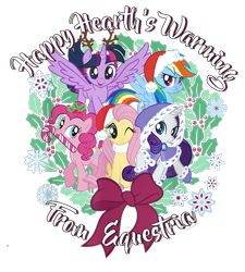 Size: 900x1000 | Tagged: safe, fluttershy, pinkie pie, rainbow dash, rarity, twilight sparkle, alicorn, earth pony, pegasus, pony, unicorn, g4, official, bow, candy, candy cane, christmas, clothes, coat, design, female, food, hat, hearth's warming, holiday, holly, mare, merchandise, santa hat, shirt design, simple background, snow, snowflake, text, transparent background, twilight sparkle (alicorn)