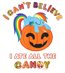 Size: 800x900 | Tagged: safe, rainbow dash, pegasus, pony, g4, official, candy, design, eyes closed, female, food, halloween, holiday, jack-o-lantern, mare, merchandise, pumpkin, shirt design, simple background, sleeping, solo, text, transparent background
