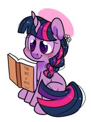 Size: 771x1032   Tagged: safe, artist:paperbagpony, twilight sparkle, pony, unicorn, book, braid, hat, reading, simple background, sitting, solo, unicorn twilight, white background