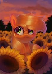 Size: 2150x3035 | Tagged: safe, artist:enderselyatdark, applejack, earth pony, pony, :3, bust, cute, female, field, flower, high res, jackabetes, mare, portrait, scenery, smiling, solo, sunflower