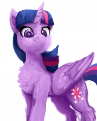 Size: 1638x2048   Tagged: safe, artist:raphaeldavid, twilight sparkle, alicorn, pony, chest fluff, cute, fluffy, smiling, solo, twiabetes, twilight sparkle (alicorn)