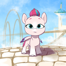 Size: 2048x2048 | Tagged: safe, artist:pfeffaroo, zipp storm, pegasus, pony, g5, adorazipp, cloud, cute, female, filly, looking at you, sky, solo, younger