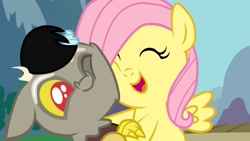 Size: 1280x720 | Tagged: safe, discord, fluttershy, draconequus, pony, baby, baby discord, female, filly, happy, hug, male, youtube link