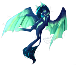 Size: 2645x2267 | Tagged: safe, artist:firospone, oc, oc only, pegasus, pony, feather, flowing tail, flying, gift art, green eyes, horn, looking at you, signature, simple background, smiling, smiling at you, solo, sparkles, spread wings, tail, teeth, transparent background, wings