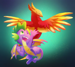Size: 3194x2829   Tagged: safe, artist:chub-wub, peewee, spike, dragon, phoenix, cute, fangs, flying, happy, male, one eye closed, open mouth, spikabetes, winged spike, wings, wink
