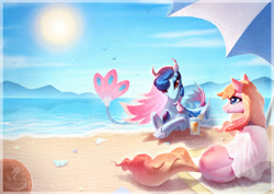Size: 1754x1240 | Tagged: safe, artist:begasus, oc, oc only, oc:electronia, oc:lyre wave, earth pony, hybrid, merpony, pony, seapony (g4), beach, blue eyes, colored pupils, drink, eyelashes, fish tail, flowing tail, gem, hoof shoes, ocean, qingdao brony festival, red eyes, seashell, sky, smiling, sun, sunlight, tail, umbrella, water