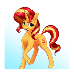 Size: 3200x3200 | Tagged: safe, artist:aquaticvibes, sunset shimmer, pony, unicorn, equestria girls, female, mare, open mouth, raised hoof, solo