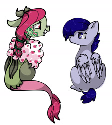 Size: 1536x1714   Tagged: safe, artist:ukulelepineapplecat, oc, oc only, oc:flora, oc:indigo, draconequus, hybrid, pegasus, pony, draconequus oc, duo, female, grin, interspecies offspring, looking at each other, mare, offspring, parent:discord, parent:fluttershy, parent:rainbow dash, parent:soarin', parents:discoshy, parents:soarindash, pegasus oc, simple background, sitting, smiling, story included, tattoo, white background, wings
