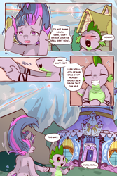 Size: 960x1440   Tagged: safe, artist:cold-blooded-twilight, spike, twilight sparkle, dragon, pony, unicorn, cold blooded twilight, comic:cold storm, bipedal, blushing, carousel boutique, cloud, comic, crying, detailed background, dialogue, duo, eyes closed, female, holding hands, laughing, male, messy mane, ponyville, rainbow trail, speech bubble, tears of laughter, unicorn twilight