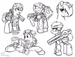 Size: 4000x3000 | Tagged: safe, artist:selenophile, oc, oc only, pony, robot, robot pony, backpack, clothes, detailed, floppy ears, futuristic, gauss rifle, goggles, hazmat suit, looking back, monochrome, railgun, sketch, technology