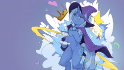 Size: 3840x2160 | Tagged: safe, artist:kittysonrice, trixie, pony, cape, clothes, crown, cup, diploma, female, hat, jewelry, mare, regalia, solo, song reference, teacup, trixie's cape, trixie's hat, vylet pony, witch hat
