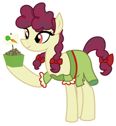 Size: 2631x2854 | Tagged: safe, artist:three uncle, hilly hooffield, earth pony, pony, the hooffields and mccolts, background pony, bow, clothes, female, hair bow, hooffield family, mare, pigtails, pose, simple background, solo, transparent background, vector