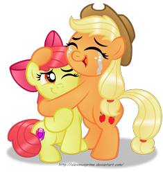 Size: 2228x2375   Tagged: safe, artist:aleximusprime, apple bloom, applejack, earth pony, pony, crusaders of the lost mark, adorabloom, bipedal, crying, crying on the outside, cute, cutie mark, eyes closed, feels, female, filly, happy, heartwarming, hug, jackabetes, liquid pride, mare, one eye closed, open mouth, open smile, siblings, simple background, sitting, smiling, tears of joy, the cmc's cutie marks, transparent background