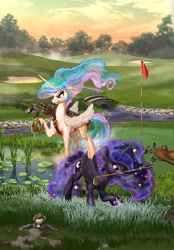 Size: 1800x2588   Tagged: safe, artist:harwick, princess celestia, princess luna, alicorn, pony, angry, commission, fanfic art, golf, golf ball, golf club, gopher, mole, mouth hold, playing, royal sisters, siblings, sisters, sports