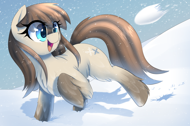 Size: 3000x2000 | Tagged: safe, artist:thebatfang, oc, oc only, oc:frosty flakes, earth pony, pony, yakutian horse, chest fluff, cute, ear fluff, earth pony oc, featured image, female, fluffy, happy, high res, leg fluff, mare, ocbetes, open mouth, open smile, raised hoof, raised tail, smiling, snow, snow mare, snowball, solo, standing on two hooves, tail, unshorn fetlocks