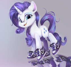 Size: 1280x1200 | Tagged: safe, artist:sketchiix3, rarity, pony, unicorn, chest fluff, clothes, open mouth, shoes, sneakers, solo, sparkly mane, sparkly tail